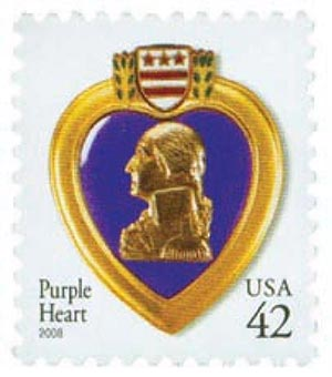 2008 42c Purple Heart, water-activated gum