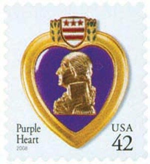 2008 42c Purple Heart, self-adhesive gum