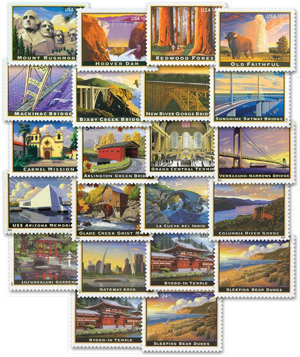 2008-19 Priority and Express Mail, set of 22 stamps
