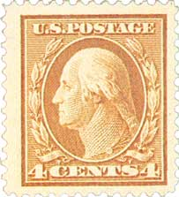 1914 4c Washington, brown, single line watermark