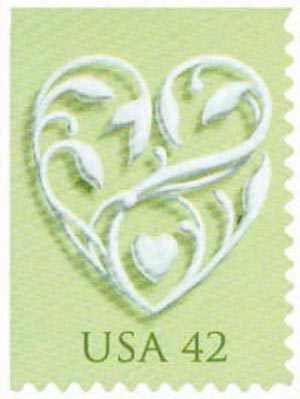 2008 42c Wedding Series: Wedding Hearts - green background