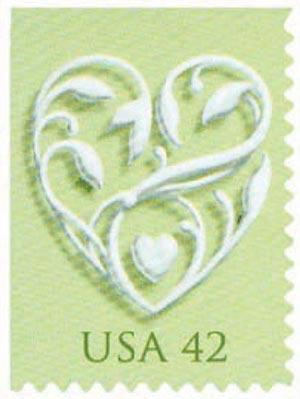 2008 42c Wedding Series: Wedding Hearts - green background