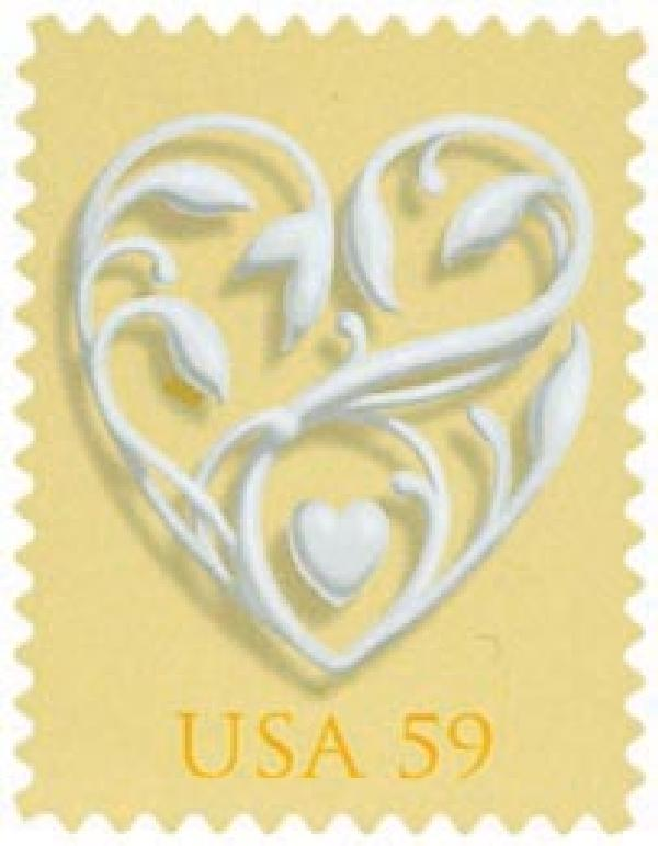 2008 59c Wedding Series: Wedding Hearts - yellow background