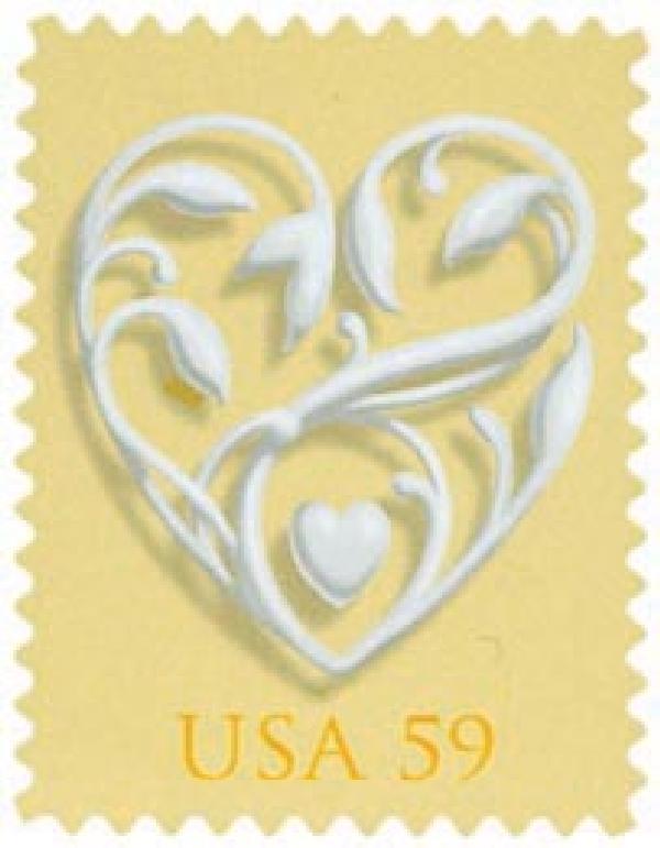 2008 59c Wedding Series: Wedding Hearts - yellow background