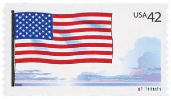 """US #4273 features the American flag waving in """"spacious skies."""""""