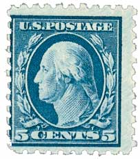 1914 5c Washington, blue, single line watermark