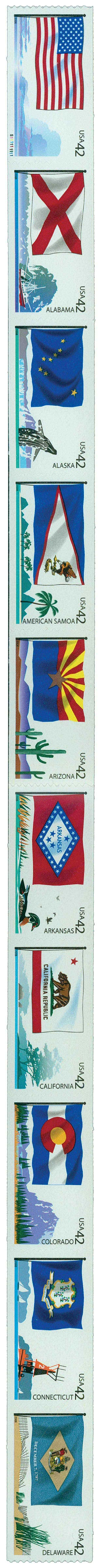 2008 42c Flags of Our Nation, strip of 10 stamps