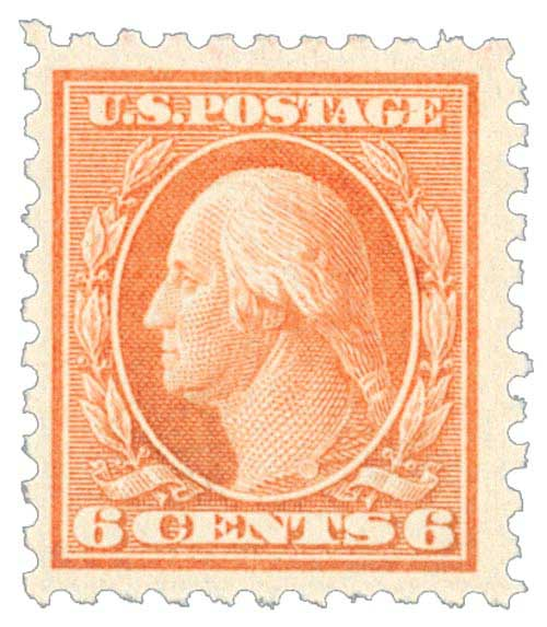 1914 6c Washington, red orange, single line watermark