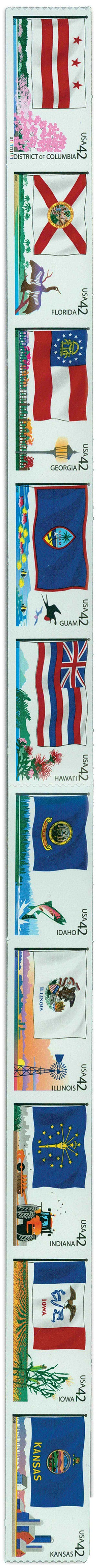2008 42c Flags of Our Nation: 2nd Edition, strip of 10 stamps