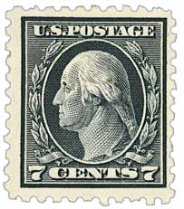 1914 7c Washington, black, single line watermark