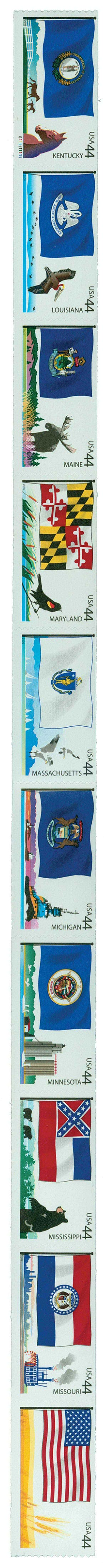 2009 44c Flags of Our Nation: 3rd Edition, strip of 10 stamps