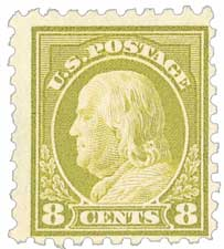 1914 8c Franklin, olive green, single line watermark