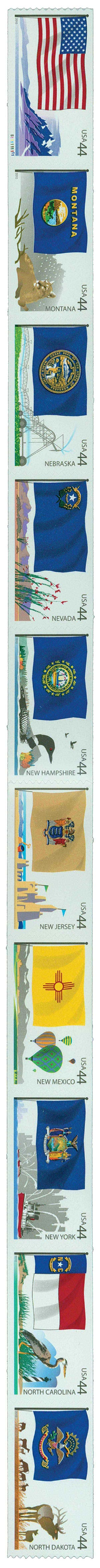 2010 44c Flags of Our Nation: 4th Edition, strip of 10 stamps