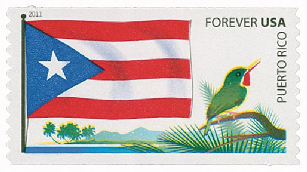 U.S. #4318 – The Puerto Rico flag includes red stripes symbolizing the blood of warrior, white stripes for victory and peace, a white star on a blue triangle symbolizing the island surrounded by blue sky and water, and the triangle representing the three branches of government.