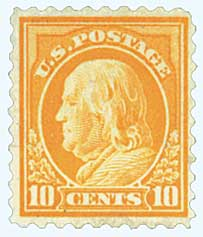 1914 10c Franklin, single watermark, perf 10