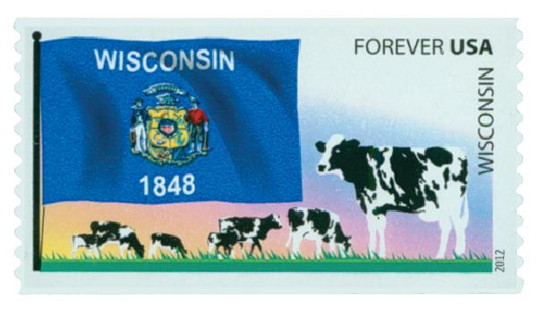 2012 First-Class Forever Stamp -  Flags of Our Nation: Wisconsin