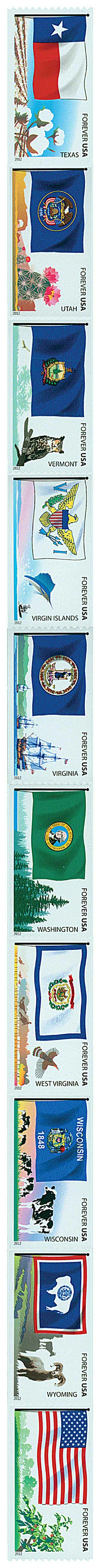 2012 Flags of Our Nation: 6th Edition, strip of 10 stamps