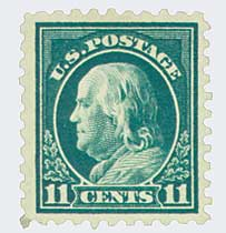 1915 11c Franklin, dark green, single line watermark