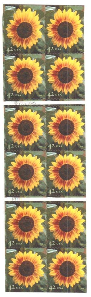 2008 42c Sunflower, conv. bklt 20