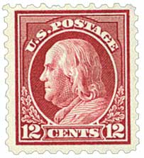 1914 12c Franklin, claret brown, single line watermark