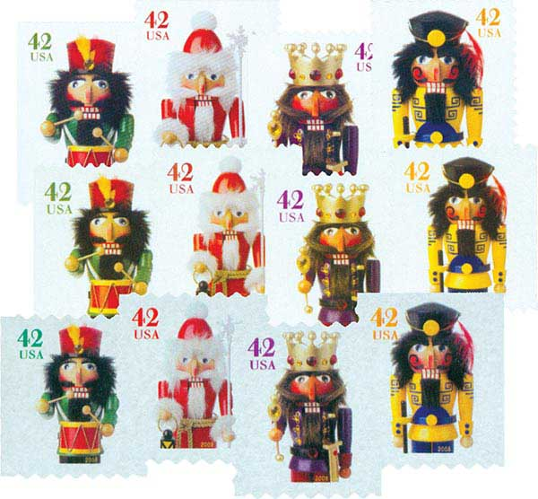 2008 42c Holiday Nutcrackers, set of 12 stamps