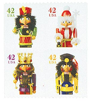2008 42c Holiday Nutcrackers, vending booklet, block of 4 stamps