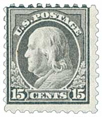 1914 15c Franklin, gray, single line watermark