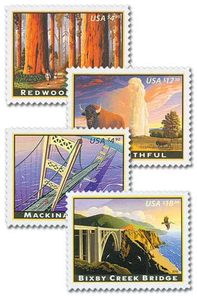 2009-10 Priority and Express Mail, collection of 4 stamps