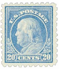 1914 20c Franklin, ultramarine, single line watermark