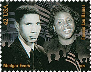 2009 42c Civil Rights Pioneers: Medgar Evers and Fannie Lou Hamer