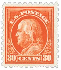 1914 30c Franklin, orange red, single line watermark