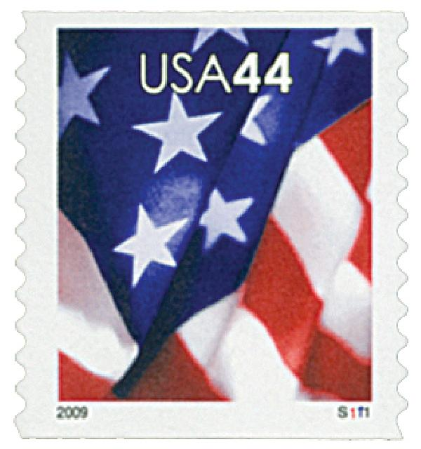 2009 44c Flag, coil, micro USPS in right corner