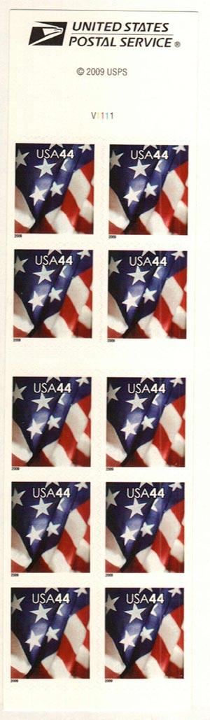 2009 44c Flag, Bklt s/a 11 1/4 10 3/4