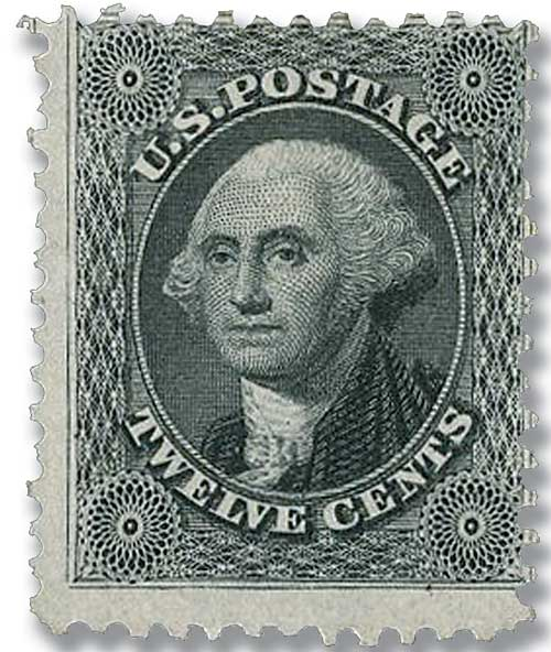 1875 12c Washington, greenish black