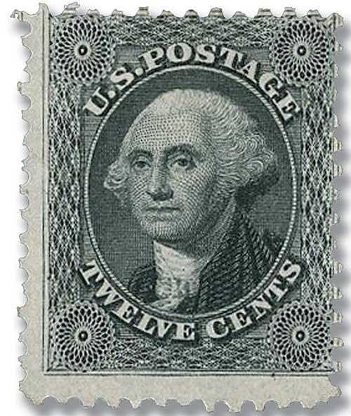 1875 12c Washington, greenish black
