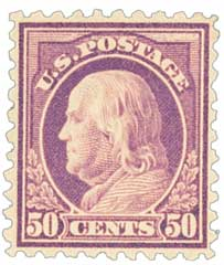 1915 50c Franklin, violet, single line watermark