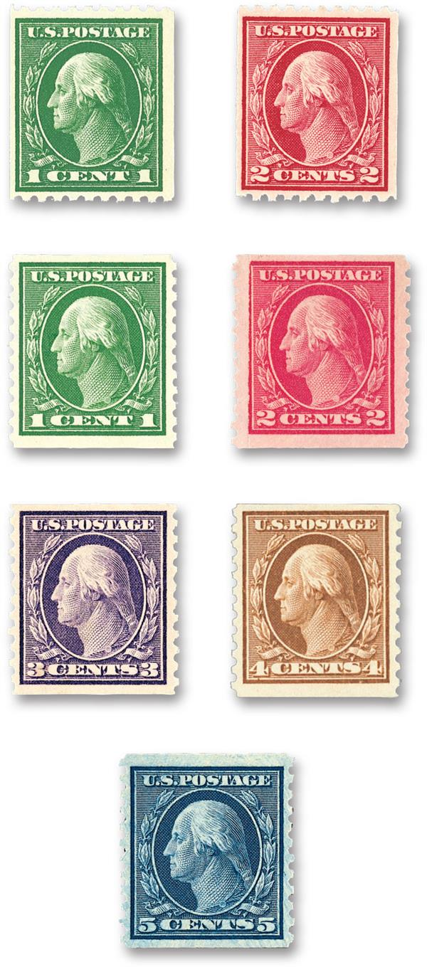 1914 Flat Plate Coil Stamps, collection of 7