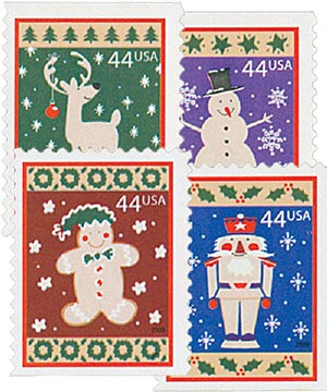 2009 44c Contemporary Christmas: Winter Holidays, convertible booklet