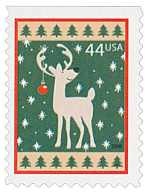 2009 44c Contemporary Christmas: Reindeer, convertible booklet