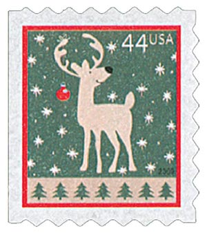 2009 44c Contemporary Christmas: Reindeer, ATM booklet