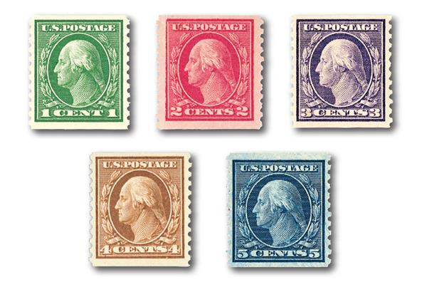 Complete Set, 1914 Coil Stamps Perforated 10 Vertically
