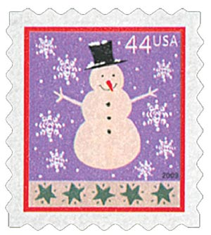 2009 44c Contemporary Christmas: Snowman, ATM booklet