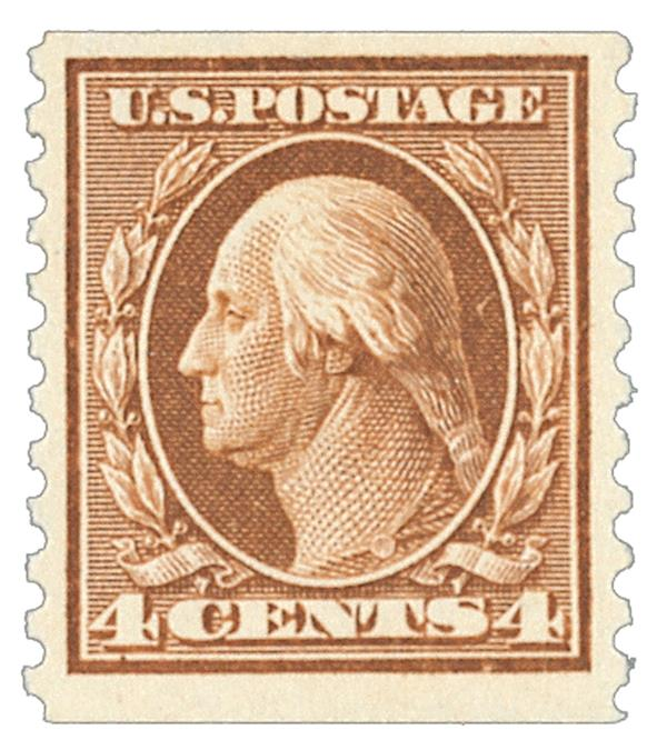 1914 4c Washington, brown, vertical perf 10