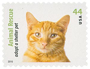 2010 44c Adopt a Shelter Pet: Orange Tabby