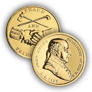 1992 John Adams Gold Plated Medal & Capsule