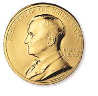 1992 Truman Gold Plated Medal & Capsule