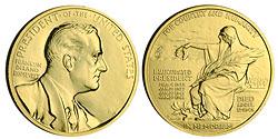 1993 F.D. Roosevelt Gold Plated Medal & Cap