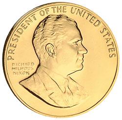 1993 Nixon Gold Plated Medal & Capsule