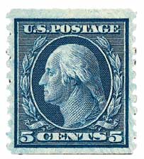 1914 5c Washington, blue, vertical perf 10