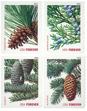 2010 First-Class Forever Stamp - Contemporary Christmas: Holiday Evergreens (Sennett Security Products, booklet)